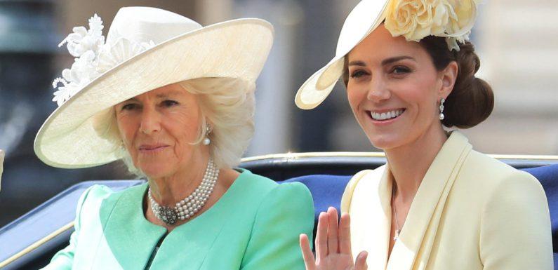 Hier fahren Herzogin Camilla und Herzogin Kate mit grimmigen Gesichtern durch London