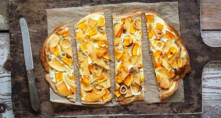 Einfaches Blitz-Rezept zum Feierabend! Leckerer Kürbis-Flammkuchen mit Walnüssen + Honig